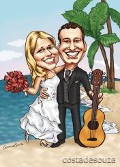João Pessoa caricatura praia cor caricaturista noivos
