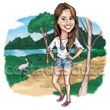 retrato menina digital ilustração caricatura