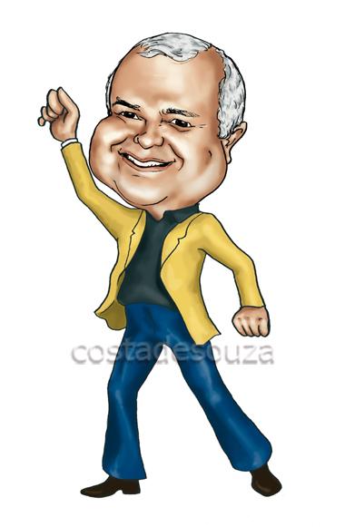 caricatura anos 70 dancing caricature