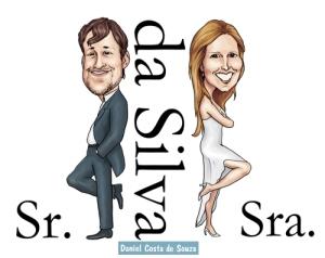 caricatura sr sra smith casamento noivos