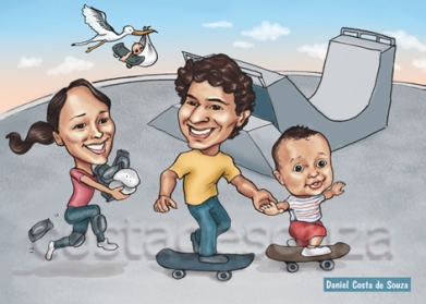 caricatura família filho casal skate