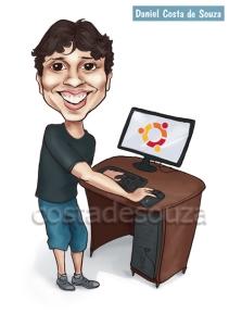 caricatura computador desktop menino