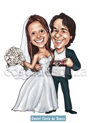 caricatura noivos casamento costa de souza