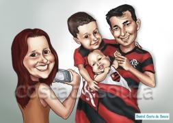 presente família caricatura foto personalizado