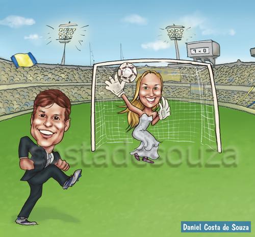 caricatura futebol casal noivos