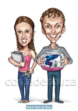 caricatura namorados aquário estudante