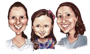caricatura rosto menina 3 pessoas