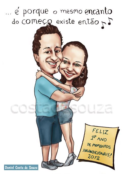 caricatura tipografia mensagem aniversário namoro