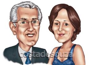 caricaturas rosto casal costa de souza