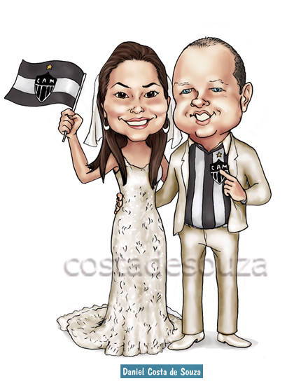 caricatura noivos casamento atlético mg