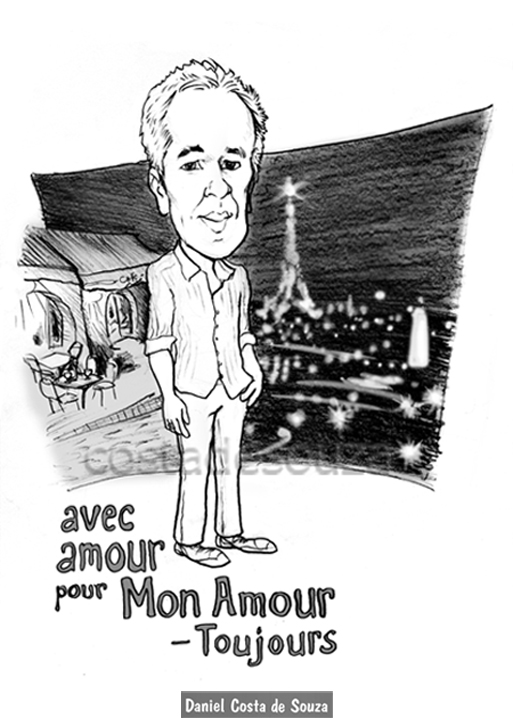 caricatura paris namorado montmartre presente
