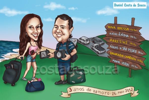 caricatura viagem casal turismo malas namorados