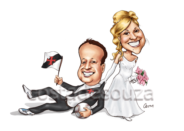 noiva grávida casamento caricatura