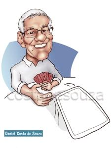 caricatura avô presente baralho cartas