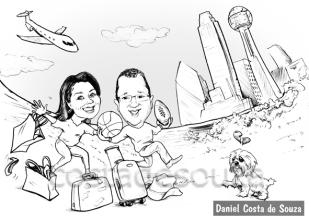 caricatura dallas estados unidos viagem casal
