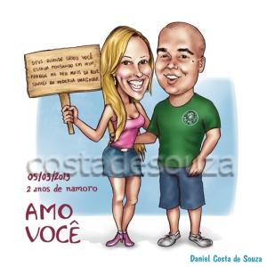 caricatura presente namorados aniversário namoro