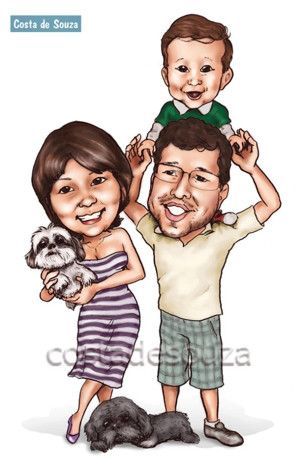 caricatura família presente quadro caneca