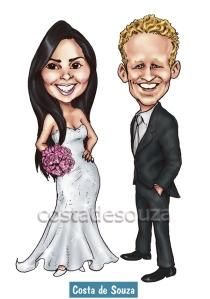 caricatura casamento convite casal noivos
