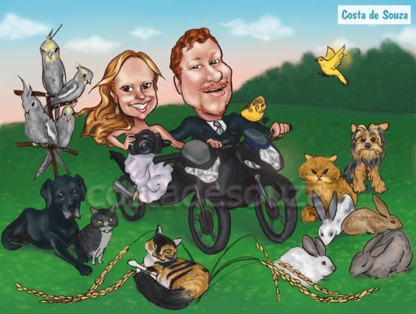 caricatura casamento noivos bichos animais mascotes cachorros