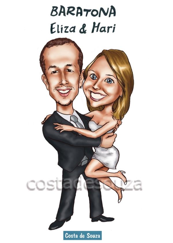 noivos baratona casamento caricatura costa
