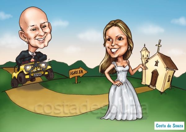 caricatura casamento noivos buggy online