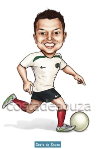 caricatura futebol brasil presente jogador