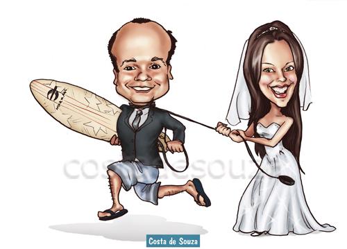 caricatura noivos casamento surf