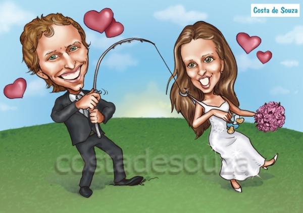 caricatura noivos pesca peixe casamento costa