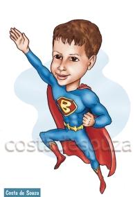 caricatura super homem herói menino