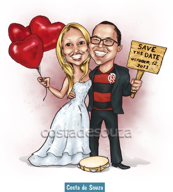 caricatura de noivos online save-the-date