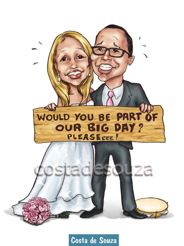 caricatura noivos online casamento