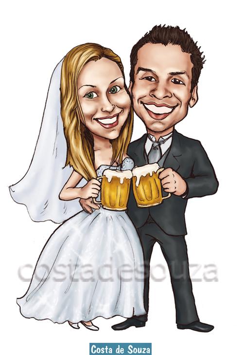 caricatura online noivos casamento chope