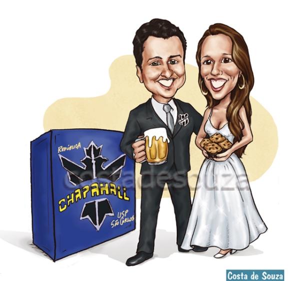 caricatura casal online noivos costa