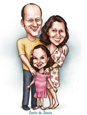 caricatura família filha online quadro