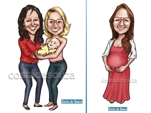 caricatura grávida avós bebê costa