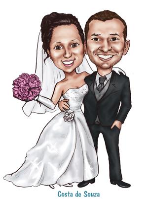 caricatura noivos online casamento convite
