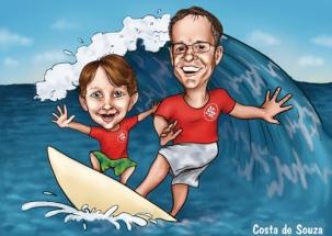 caricatura pai filho surf mar