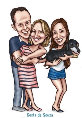 família caricatura online quadro