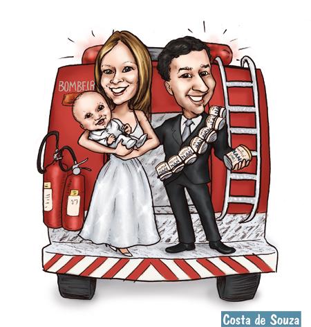 caricatura família bebê noivos bombeiro