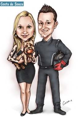 caricatura casal cachorro piloto