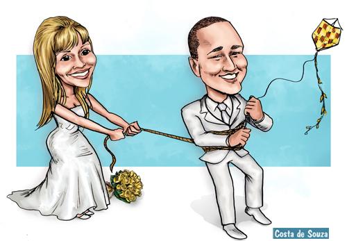 caricatura casamento noivos pipa