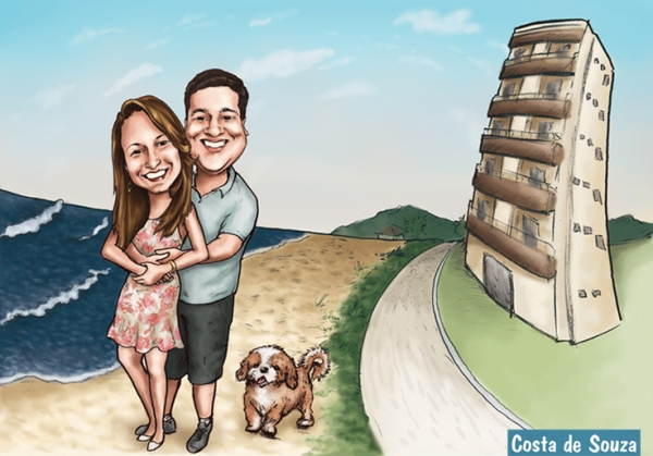casal caricatura apartamento