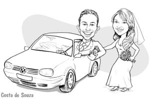 caricatura casamento noivos carro convite