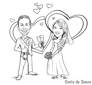 caricatura casamento noivos convite