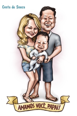 caricatura família dia dos pais