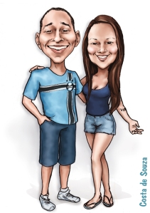 caricatura casal namorados costa de souza