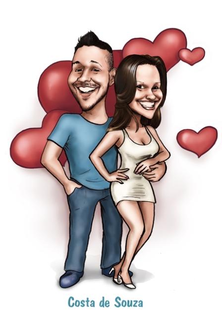 caricatura dia dos namorados presente homem