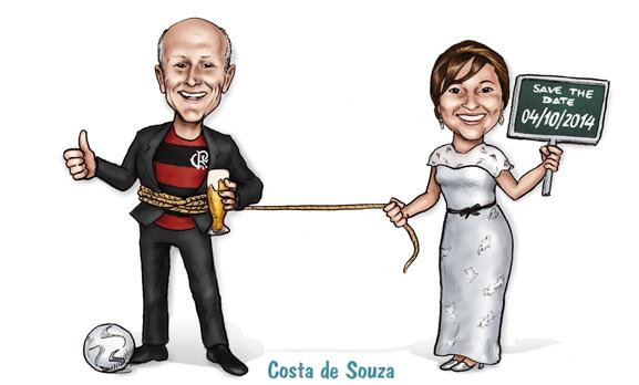 caricatura noivos corda placa save