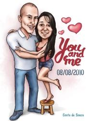 caricatura dia dos namorados romantica