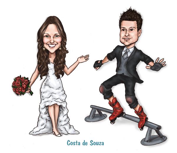 caricatura noivos roller casamento